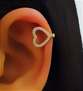 Piercing Fake Coração Vazado com Micro Zircônia Banhado em Ouro18k (SKU: 00071042)
