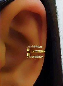 Piercing Fake 3 Fileiras Micro Zircônia Banhado em Ouro18k (SKU: 00071041)