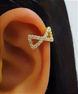 Piercing Fake Laço Micro Zircônia Banhado em Ouro18k (SKU: 00071049)