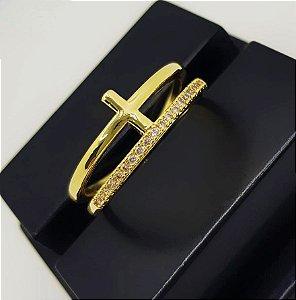 Anel 2 Fileiras com Cruz Lisa e Micro Zircônia Banhado em Ouro18k