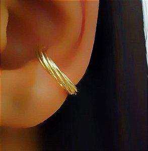 Piercing Fake Torcido Banhado em Ouro18k