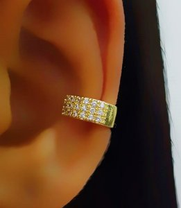 Piercing Fake 3 Fileiras Micro Zircônia Banhado em Ouro18k (SKU: 00071047)