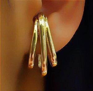 Piercing Fake 3 Garras Lisas Banhado em Ouro18k