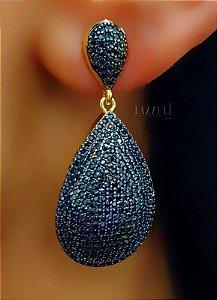 Brinco Gota Luxury 4.0 cm com Zircônia Negra Banhado em Ouro18k