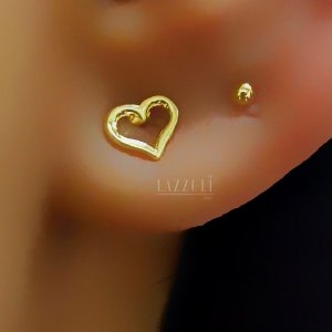 Brinco Mini Coração Liso 0.5 Banhado em Ouro18k