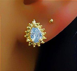 Brinco Gotinha Pontilhada com Zircônia Cristal Banhado em Ouro18k