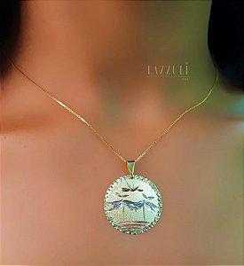 Colar Pingente Diamantado 2.5 cm Banhado em Rose, Ródio Branco e Ouro18k