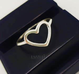 Anel Coração Pequeno Liso em Prata 925