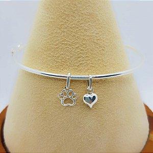 Bracelete Oval com Coração e Patinha em Prata 925