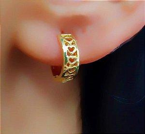 Brinco Argola Mini Corações Vazados Banhado em Ouro18k (SKU: 00032043)