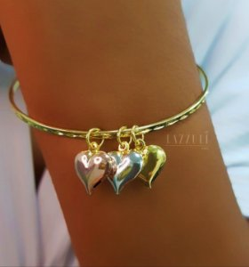 Bracelete 3 Banhos com 3 Corações Banhado em Rose, Ródio Branco e Ouro18k