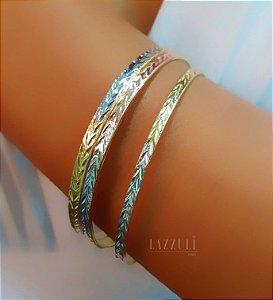 Bracelete Aro Grosso Diamantado com 3 Aros e 3 Banhos Rose, Ródio Branco e Ouro18k