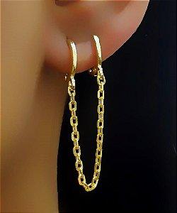 Brinco Corrente com 2 Argolas Lisas Banhado em Ouro18k