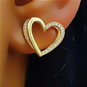 Brinco Coração Vazado com Micro Zircônia Cristal Banhado em Ouro18k (SKU: 00039637)