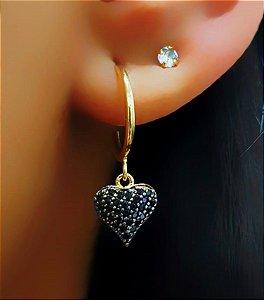 Brinco Argola com Coração Negra Banhado em Ouro18k (SKU: 00032163)