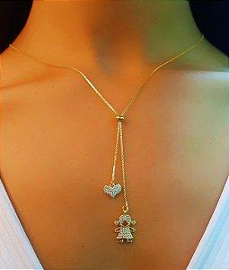Colar Gravatinha 1 Menina e 1 Coração Micro Zircônias Banhado em Ouro18k