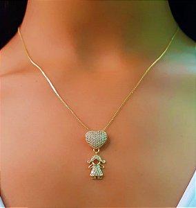 Colar Filhos 1 Menina Coração Micro Zircônias Banhado em Ouro18k (SKU:00052218)