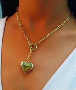 Colar Gravatinha Coração Liso Banhado em Ouro18k (SKU: 00052405)