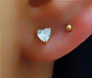 Brinco Mini Coração Zircônia Cristal Banhado em Ouro18k