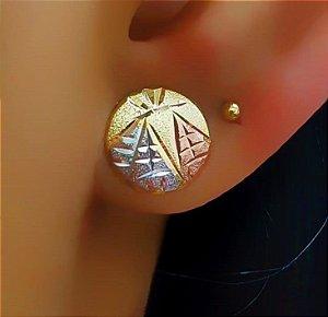 Brinco Redondo Pequeno Diamantado D: 1.0 cm 3 Banhos Banhado em Rose, Ródio Branco e Ouro18k