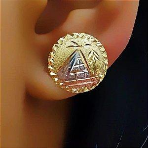 Brinco Redondo Diamantado D: 1.5 cm com 3 Banhos Banhado em Rose, Ródio Branco e Ouro18k