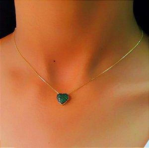 Colar Coração Zircônia Esmeralda Banhado em Ouro18k (SKU: 00059116)