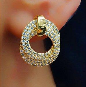 Brinco Redondo Luxury 2 Fios Micro Zircônias Banhado em Ouro18k