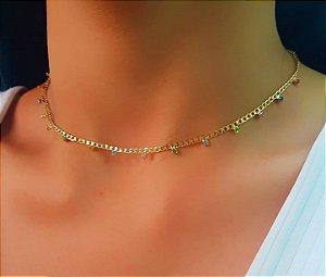 Colar Elos com Zircônia Colorida Banhado em Ouro18k (SKU: 00052427)