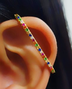 Piercing Fake Transversal Micro Zircônia Colorida Banhado em Ouro18k