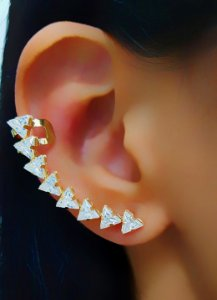 Brinco Ear Cuff Triângulos Luxury Banhado em Ouro18k