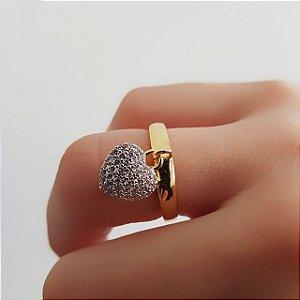 Anel Coração com Pingente de Zircônias Banhado em Ouro 18k