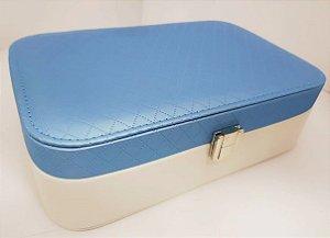 Maleta Porta Joias Retangular Azul Tiffany