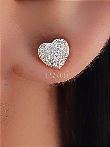 Brinco Mini Coração com Micro Zircônias Banhado em Ouro18k (Sku:00030413)