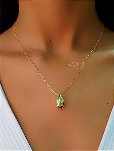 Colar Gravatinha Regulável de Gota Lisa M Banhado em Ouro18k