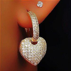 Brinco Argola Coração Micro Zircônias Cravejadas Banhado em Ouro18k