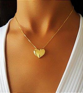 Colar Coração Liso Banhado em Ouro18k (SKU:00050555)