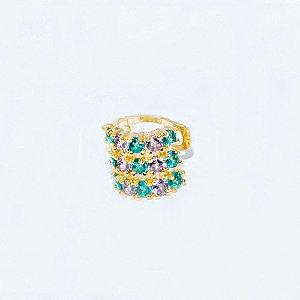 Piercing Fake Largo Zircônias Coloridas Banhado em Ouro18k