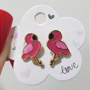 Brinco Flamingo Rosa Banhado em Ouro18k
