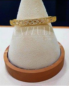 Bracelete Corações Vazado com Micro Zircônias Banhado em Ouro18k