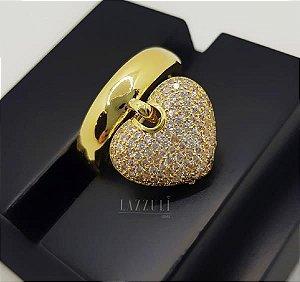 Anel Pingente Coração com Micro Zircônias Cristais Banhado em Ouro18k (SKU:00010273)
