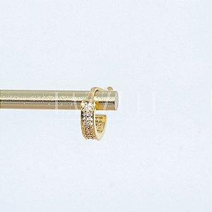 Piercing Fake 2 Fileiras de Micro Zircônias Cristais Banhado em Ouro 18k