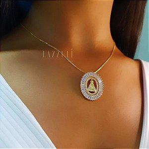 Colar Mandala Oval Nossa Senhora Banhado em Ouro18k