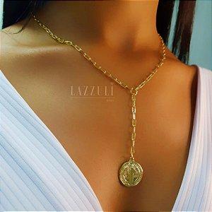 Colar Gravatinha Cartier com Pingente São Bento Banhado em Ouro18k