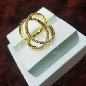 Anel  X Luxury Micro Zircônia Banhado em Ouro18k