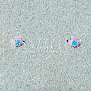 Brinco Infantil Pássarinho Rosa em Prata