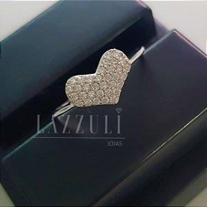 Anel Coração com Micro Zircônias em Prata 925