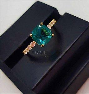 Anel Solitário Luxury Turmalina Banhado em Ouro 18k
