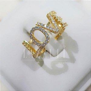 Anel Love com Micro Zircônias Banhado em Ouro 18k