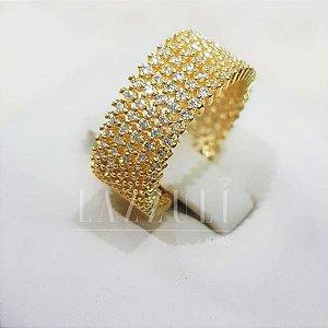 Anel Largo com Micro Zircônias Banhado em Ouro 18k ( SKU:00010307)