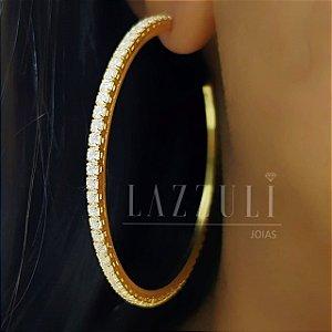 Argola Luxo Com Micro Zircônias Banhado em Ouro18k